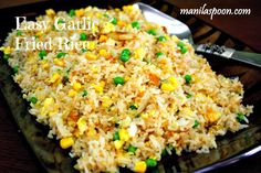 Manila Spoon: Easy Garlic Fried Rice (Sinangag) - no more throwing away of left-over rice! Use whatever veggies and meat you have at hand.