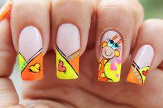 Deko uñas by diana diaz Frozen Nail Art, Frozen Nails, French Nails, Nail Manicure, Gel Nails, Giraffe Nails, Animal Nail Art, Gold Glitter Nails, Nails For Kids