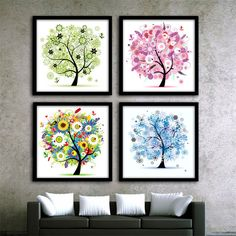 DIY Diamond Embroidery Crystal Rhinestone Cross-Stitch Four Seasons Tree Diamond Painting Kits #Affiliate