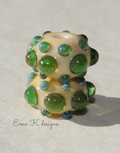 Gaia Jewels 2 handmade lampwork beads by Ema Kilroy by EmaKDesigns, $12.00