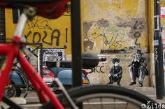 Zilda. Street art : Poster entitled 'Ladri di biciclette' by the artist Zilda in Rome, Italy.
