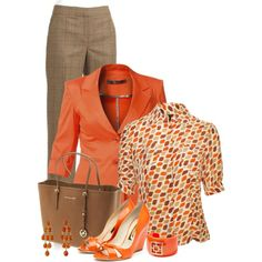 A fashion look from May 2013 featuring silk top, orange jacket and wool dress pants. Browse and shop related looks.