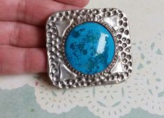C.1900 Antiques Arts & Crafts Art Nouveau Silver And Swiss Blue Topaz Brooch