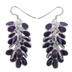 Amethyst Gemstone and Sterling Silver Drop-Earrings Handmade Jewelry 2 inches: Jewelry: Amazon.com
