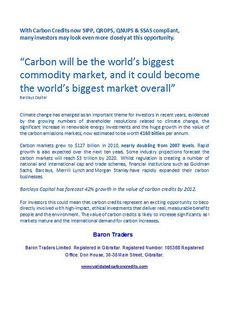 """With Carbon Credits now SIPP, QROPS, QNUPS & SSAS compliant, many investors may look even more closely at this opportunity.    """"Carbon will be the world's biggest commodity market, and it could become the world's biggest market overall""""   Barclays Capit Wanting to know how to plan for your retirement and ensure you are financially secure.  A retirement planning guide is a must.  Click the link below to prepare and plan for your retirement"""