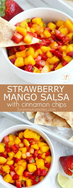 Strawberry Mango Salsa with Cinnamon Chips is simple to make and the perfect, refreshing summertime appetizer.  Fresh strawberries and mangoes get added to this flavorful salsa with a touch of lime juice and mint.  Tortillas get brushed with melted butter, sprinkled with cinnamon and sugar, and cut into triangles before baking into a crispy chip. #fruitsalsa #strawberries #mangosalsa #cinnamonchips