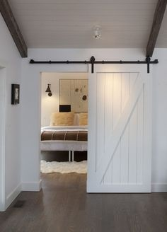 Sliding Barn Door. Into a bedroom. Love it!!!!
