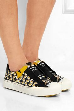 Fendi | Printed leather slip-on sneakers | NET-A-PORTER.COM