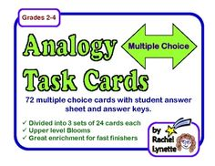Analogy Task Cards: 72 multiple choice cards plus answer sheet. $