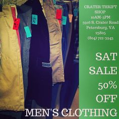 Plenty of staples to fill out his wardrobe.    #buylocal #shoplocal #thriftstore #thriftshop #hopewellva #petersburgva #colonialheights #chesterfield #rva #804 #summer #shopping #mensclothes