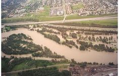 This is an aerial view of the Inglewood Golf Course as water from the Bow River floods the course, June 21 2013.
