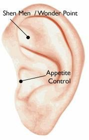"""Appetite Control accupressure point. Apply pressure to the Appetitie Control point for 30-60 seconds can reduce your appetite and stimulate weight loss. This area of your ear controls appetite, accelerates the brains """"full"""" response, and releases endorphins or """"feel good"""" hormones into your system."""