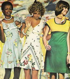 'Short dress stories. Sunny, shirty, posied or plain, they're cool to get into now.' — Seventeen magazine, March 1974