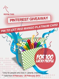 It's a Giveaway time! Let's Repin this pin & Win the prize.     *If you have follow our Pinterest and repin the 'Pinterest Giveaway' pin, please put your Pinterest link in the comment box here: http://pinterest.com/pin/155374255866483528/