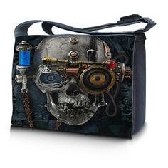 "Using the fantastic Alchemy Gothic art work we have created a Gothic ,Steam Punk Alternative fashion Messenger Bag .Ideal for for carry on baggage for Air Travel.Can be used for bikes and motorbikes.Comfortable shoulder strap.Great for work,College,University and school.Made from robust Nylon water resistant. Padded partitions .Ideal for carrying 15"" Lap tops and a great bag for universal Tablets .Having zipped pocket it makes an ideal for a office on the move !   Inner Size 39x26x8cm Outer…"