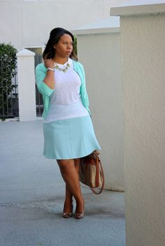Curvy, Petite Outfit Ideas | Professional and Casual-Chic Fashion and Style Inspiration | + Teal/ Turquoise skirt and cardigan (pastels)