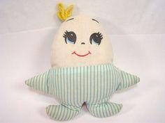 PLAKIE Vintage plush humpty dumpty egg pillow blue white stripe doll rare #Plakie