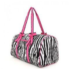 Belvah Black & Fuchsia Quilted Zebra Large Duffle Bag www.BagLane.com