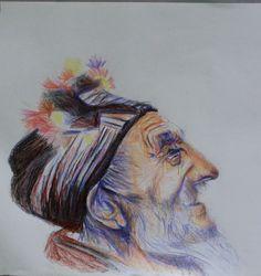 portrait aux crayons de couleur