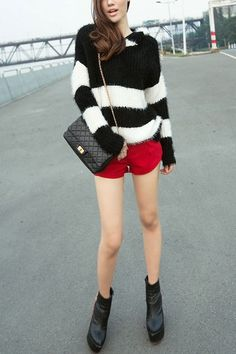 """Color Block Hooded Jumper With Wide Stripes  """"The sweater is made of velvet, featuring long sleeves, color  $110.00"""