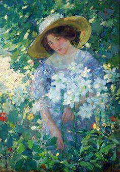 Gathering Flowers, by Karl Albert Buehr (German-born American, 1866-1952)