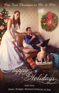 Funny Christmas card. Our first Christmas card as mr. & mrs.