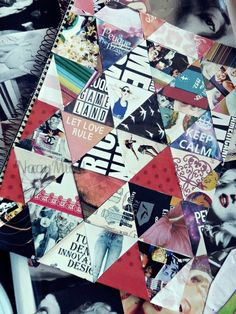 Collage notebook. I like the triangles