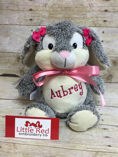 Baby Cubbies Personalized Stuffed Bunny Rabbit Stuffie - adorable baby gift! - pinned by pin4etsy.com