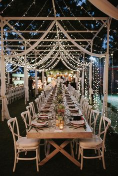 Incredible outdoor wedding reception ideas With hanging string lights