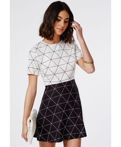 Contrast Diamond Grid Skater Dress Monochrome - Dresses - Skater Dresses - Missguided
