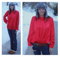 Red Blouse L: Women's Long-Sleeve Shirt with by FoxandFawnDesign