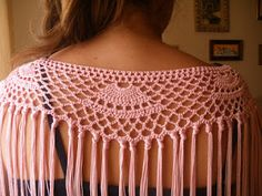 Crochet shawl / Mantoncillo Crochet Collar, Crochet Shawl, Crotchet Patterns, Stitch Patterns, Love Crochet, Knit Crochet, Flamenco Costume, Crochet Borders, Diy Projects To Try