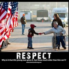 """Because as we get older people think """"If you respect me I'll respect you"""" HELL TO THE NO I'm going to shake the hand of or wave at any veteran I see I Love America, God Bless America, Military Veterans, Military Life, Military Quotes, Military Humor, Honor Veterans, Biker Quotes, Navy Military"""