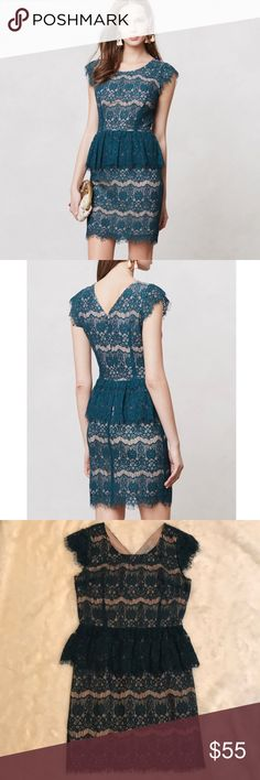 """Anthropologie Maeve Elsa Peplum Dress Size Medium Anthropologie Maeve Elsa Peplum Dress Size Medium. Dress is in excellent used condition. Fringed lace tiers on this Peplum Sheath by Maeve. Back zip. Cotton, nylon with polyester lining. Shoulder to hem length is approx 36"""" Anthropologie Dresses"""