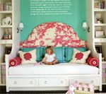The fabrics on this site are divine!!! This headboard is crafted from Paradise Background Raspberry on Tint fabric  ||  via Quadrille, China Seas, Alan Campbell, Home Couture