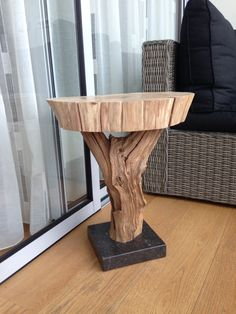 Side table. Of weathered old oak branch and leaf by GBHNatureArt