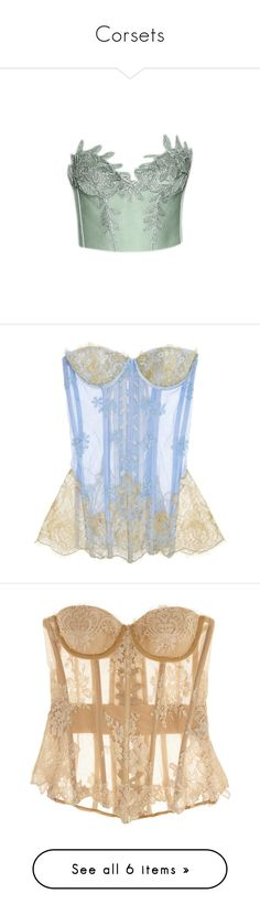"""""""Corsets"""" by spaghetti-os ❤ liked on Polyvore featuring tops, shirts, corset, gowns, intimates, shapewear, lingerie, underwear, sand and corsets"""