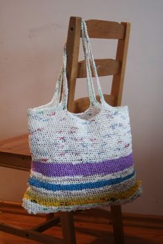 crochet plastic yarn bag