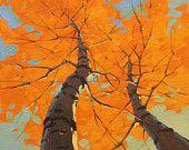 ORIGINAL Fine Art - 8x8 Square - Autumn Aspen Birch Trees OIL PAINTING
