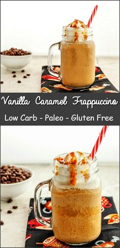 Vanilla Caramel Frappuccino Low Carb with a paleo version. A super yummy, frosty, caramel vanilla flavored coffee drink. Keto, low carb and paleo. Ketogenic Recipes, Low Carb Recipes, Real Food Recipes, Healthy Recipes, Low Carb Drinks, Low Carb Smoothies, Tea Smoothies, Low Carb Deserts, Low Carb Sweets