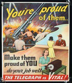 1940s WWII POSTER WORLD WAR II AUSTRALIAN RARE TELEGRAPH WOMEN IN WAR PROPAGANDA