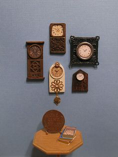 Inspiration for vintage style wall clocks for dollhouse (jewelry and other found items) Source:  Otterine