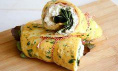 Egg wrap met Hüttenkäse en kipfilet