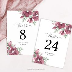 Create as many burgundy table numbers as you need with this easy-to-use template! Ideal for fall wedding decor, showers and Christmas parties. #fallweddingdecor #tablenumbers #burgundywedding Wedding Favors Unlimited, Wedding Favors For Guests, Wedding Boxes, Original Wedding Invitations, Printable Wedding Invitations, Top Wedding Trends, Wedding Ideas, Succulent Wedding Favors, Fall Wedding Decorations
