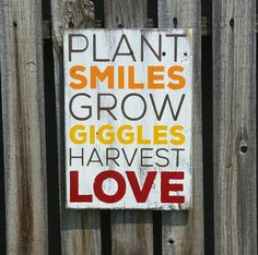Plant Smiles, Grow Giggles, Harvest Love pallet sign shabby chic home decor wood sign pallet signs Thanksgiving fall signs Red Orange Yellow