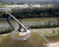 Cumberland River Pedestrian Bridge links Nashville, Tennessee trails and greenways Cumberland River, Bike Trails, Biking, Pedestrian Bridge, Nashville Tennessee, Outdoor Power Equipment, Cool Designs, Bridges, Walkways