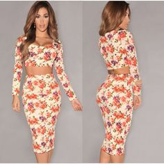Online Shop Sexy Long Sleeve Party Autumn Dresses Women 2014 New Sexy Pencil Flower Print Dresses Celebrity Bandage 2 Pieces Bodycon Dress|Aliexpress Mobile