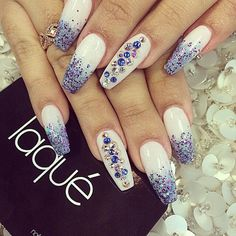 Blue and white glitter coffin nails