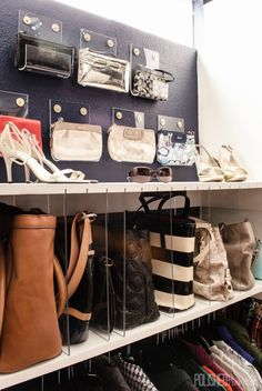 Polished Habitat has a beautiful re-organized Master Closet, take a look. We love this organized clutch and purse section of her closet. Those clear dividers move! Closet Organizing Hacks and Tips. Home Improvement and Spring Cleaning Ideas for your Nest. Ideas on Frugal Coupon Living.