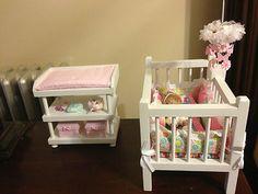 Handmade Wooden Doll Crib With Crib Mobile & Bedding